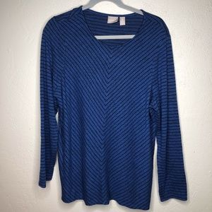 CHICO'S stripped long sleeve shirt size 3 (L)
